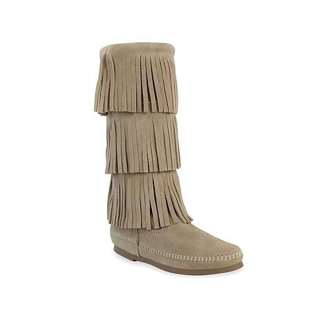 Minnetonka 3-Layer Suede Fringe Boot - 7837589 | HSN