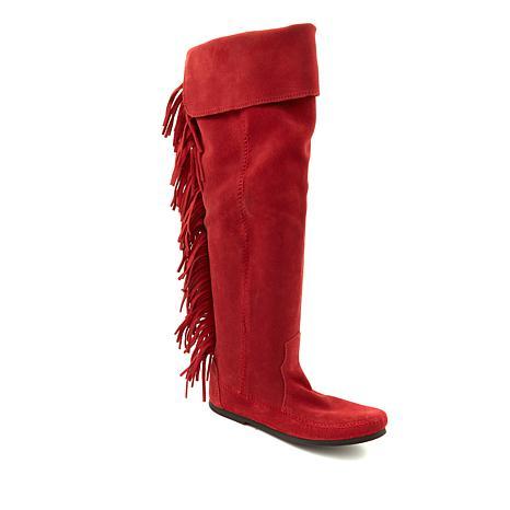 Minnetonka Over-the-Knee Suede Fringe Boot