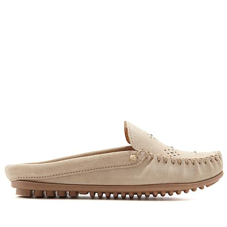 Minnetonka Suede Moccasin Mule with Studs