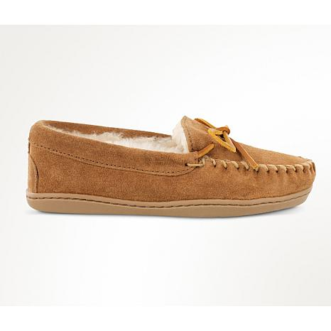 Minnetonka Suede Sheepskin Hardsole Moccasin Slipper - Wide