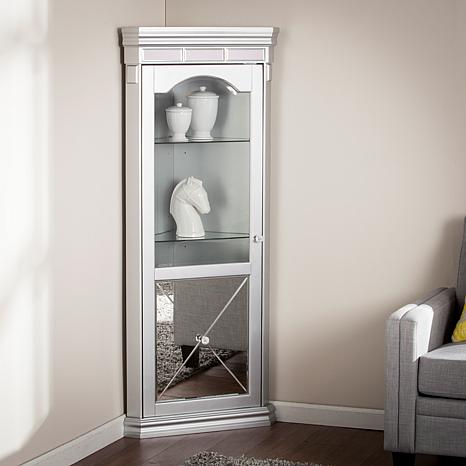 Mirage Mirrored Lighted Corner Curio Cabinet