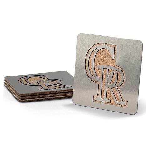 MLB Boasters 4-piece Coaster Set - Colorado Rockies