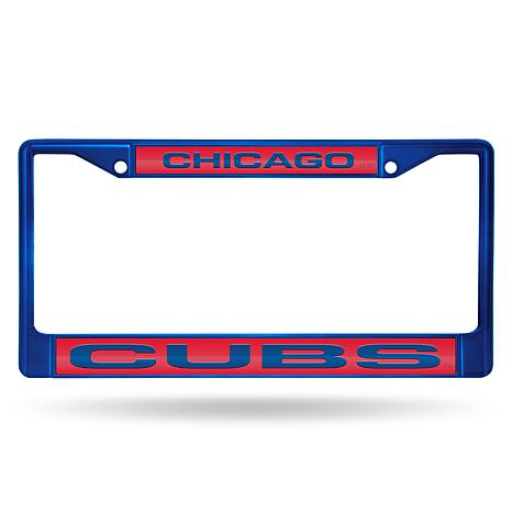 MLB Colored Laser-Cut Chrome License Plate Frame -  Cubs
