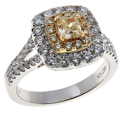 Modani Jewels 14K Gold 1.15ctw Yellow and White Diamond Square Ring