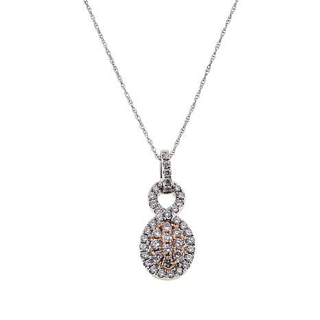 Modani Jewels 14K Gold .50ctw Pink and White Diamond Pendant