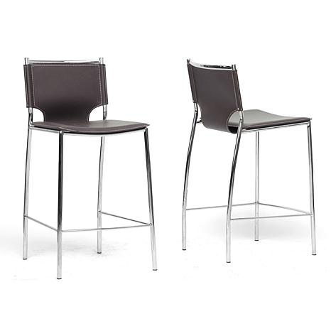 Montclare Brown Leather Modern Counter Stool - Set of 2
