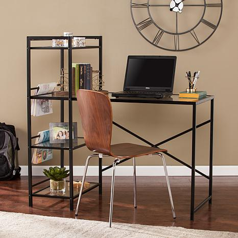 Mortenson Metal/Glass Writing Desk - Black