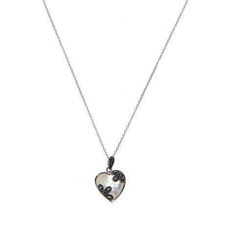 Mother-of-Pearl Marcasite-Accent Heart Pendant w/Chain