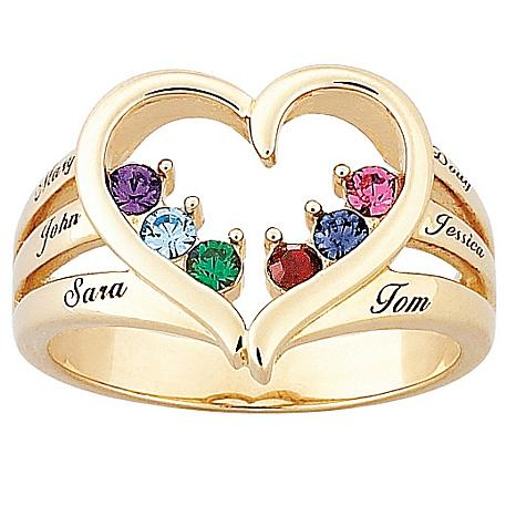 Mother's Birthstone Goldtone Heart Name Ring