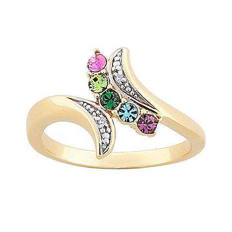 Mother's Diamond-Accent Birthstone Crystal Bypass Ring