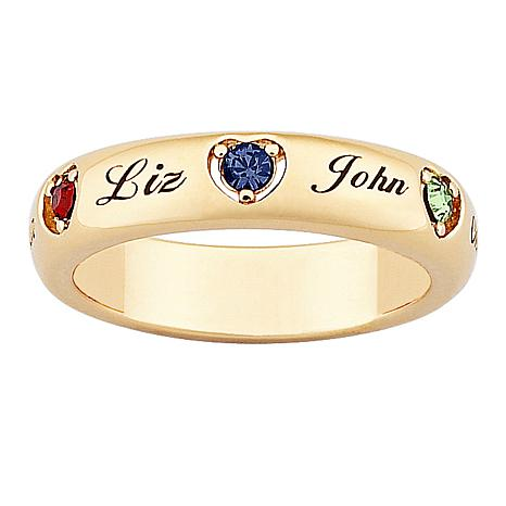 Mother's Name and Heart-Shaped Birthstone Crystal Ring