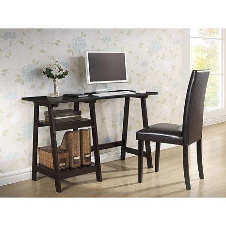 Mott Dark Brown Wood Modern Desk with Sawhorse Legs