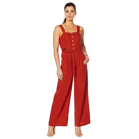 Motto Button-Front Linen-Blend Jumpsuit