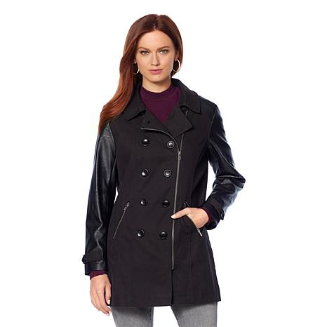 Motto Military Trench Coat with Faux Leather Trim