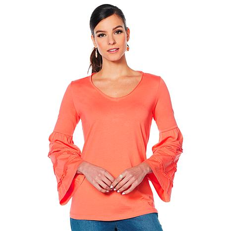 Motto Pima Cotton Tiered Bell-Sleeve Top