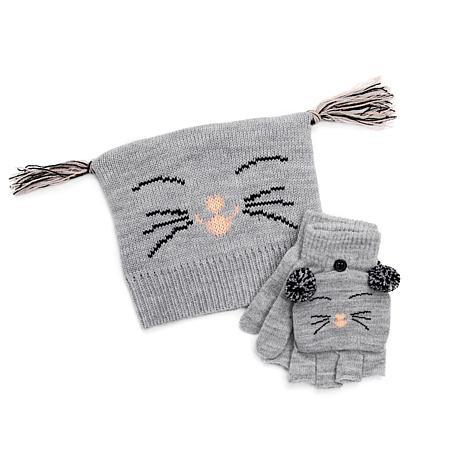MUK LUKS Kid's Zoo Baby Hat and Flip Mitten Set