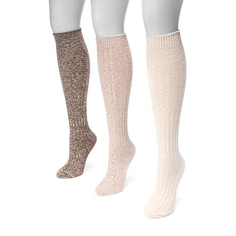 MUK LUKS Women's 3-pack Cable Knit Knee-High Socks