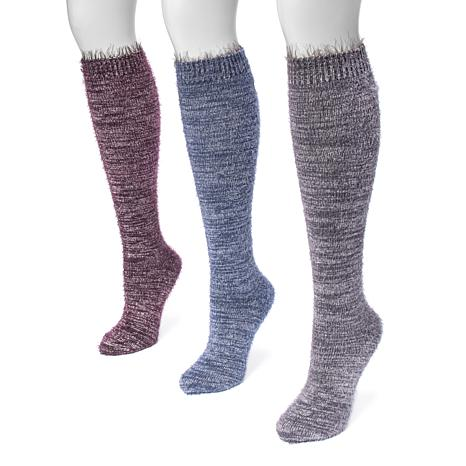 MUK LUKS Women's 3-pack Feather Yarn Knee-High Socks