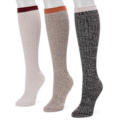 MUK LUKS Women's 3-pack Fluffy Slouch Socks
