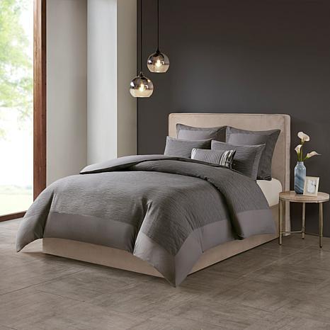 N Natori Hanae Cotton Blend 3-piece Full/Queen Comforter Set - Gray