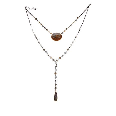 Nakamol Beaded Set of 2 Lariat and Drop Necklaces