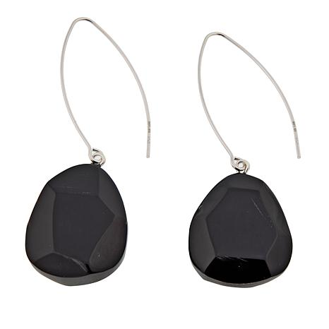 Natural Beauties Faceted Buffalo Horn Sterling Silver Drop Earrings