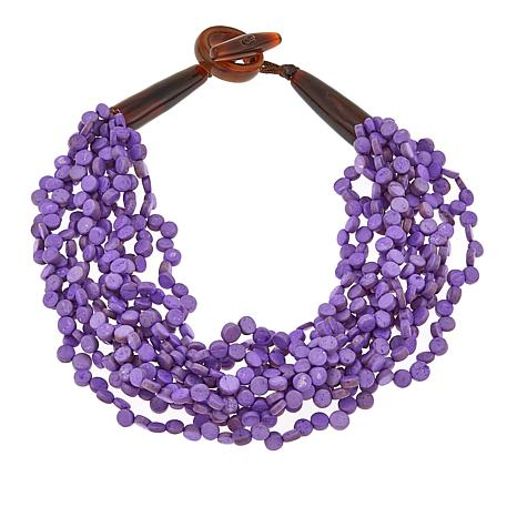 "Natural Beauties Purple Coconut Shell and Buffalo Horn 21"" Necklace"