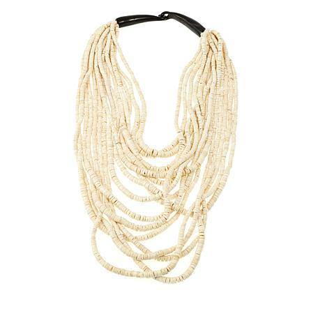 Natural Beauties White Coconut Shell & Horn Necklace