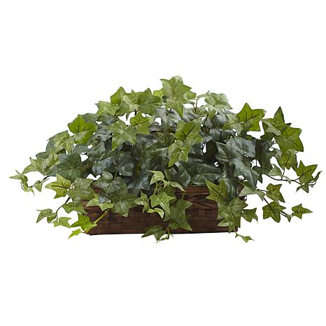 """Nearly Natural 12.5"""" Puff Ivy with Ledge Basket"""