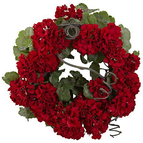"Nearly Natural 17"" Geranium Artificial Wreath"