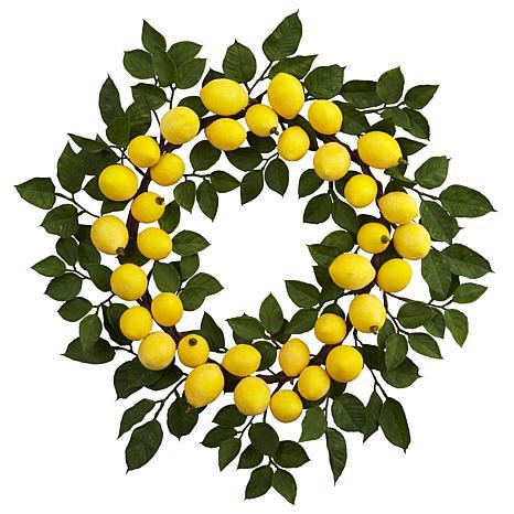 "Nearly Natural 24"" Lemon Wreath"