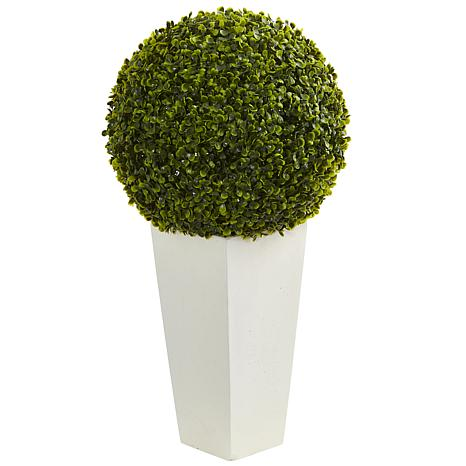 """Nearly Natural 28"""" Boxwood Topiary Ball w White Planter Indoor/Outdoor"""