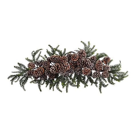"""Nearly Natural 28"""" Iced Pine Cone Swag"""