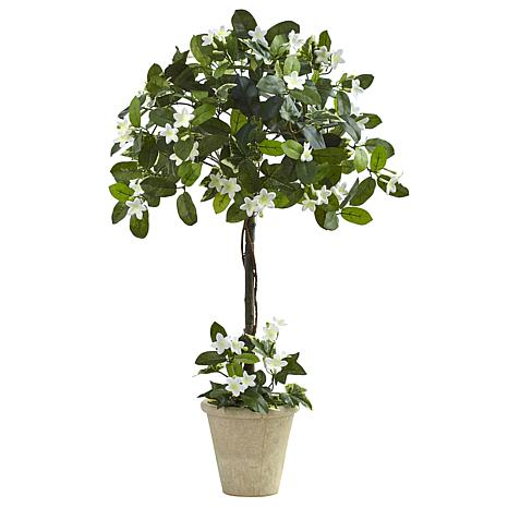 Nearly Natural 3' Stephanotis Topiary with Planter