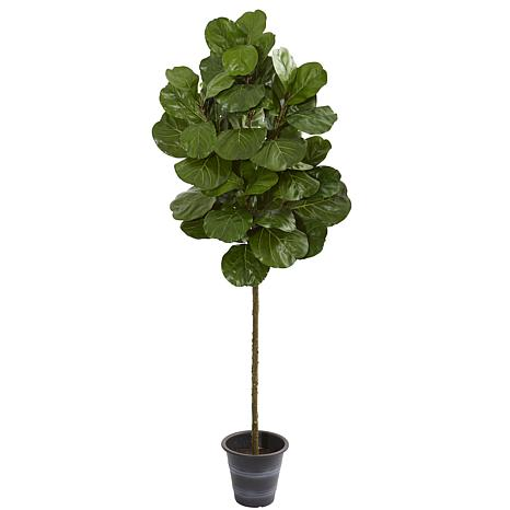 Nearly Natural 6.5 ft. Artificial Fiddle Leaf Tree with Planter