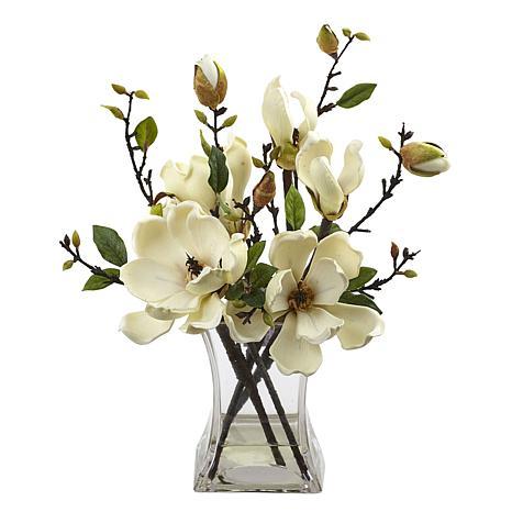 Nearly Natural Silk Magnolia Arrangement