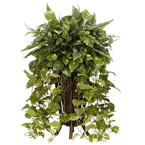 Nearly Natural Vining Mixed Greens with Decorative Stand
