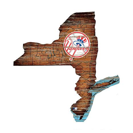 New York Yankees 24in. Distressed State w/Logo Sign