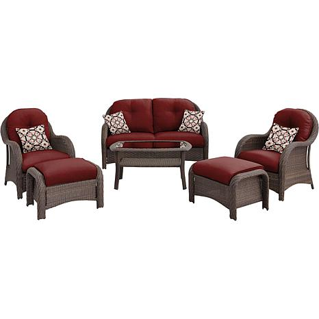 Newport 6-piece Deep-Seating Wicker Patio Set - Red
