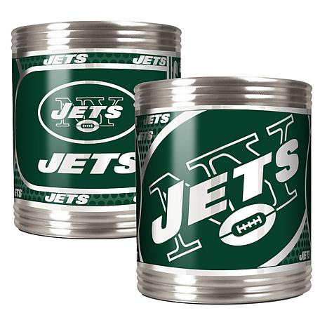 NFL 2-piece Stainless Steel Can Holder Set - NY Jets