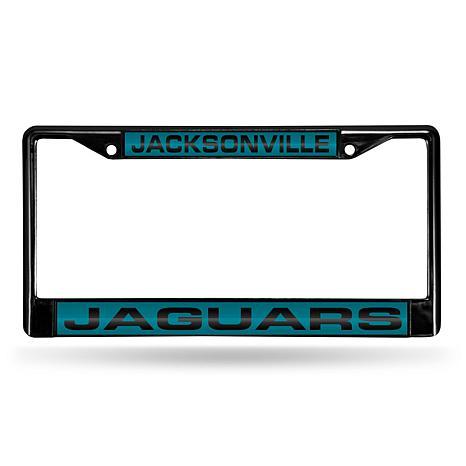 NFL Black Laser-Cut Chrome License Plate Frame -Jaguars