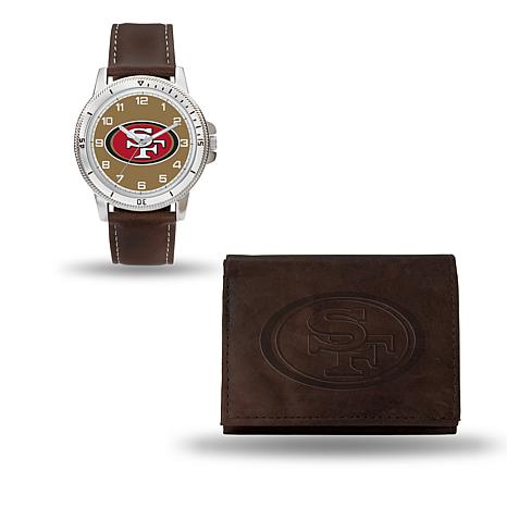 NFL Team Logo Watch and Wallet Combo Gift Set in Brown