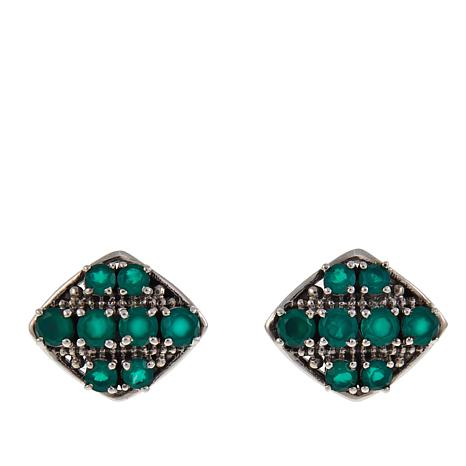 Nicky Butler 1.2ctw Green Chalcedony Pavé Stud Earrings