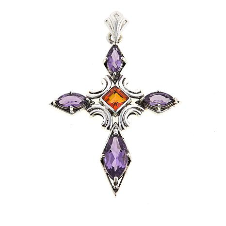 Nicky Butler 3.6ctw Amethyst and Honey Topaz Cross Pendant