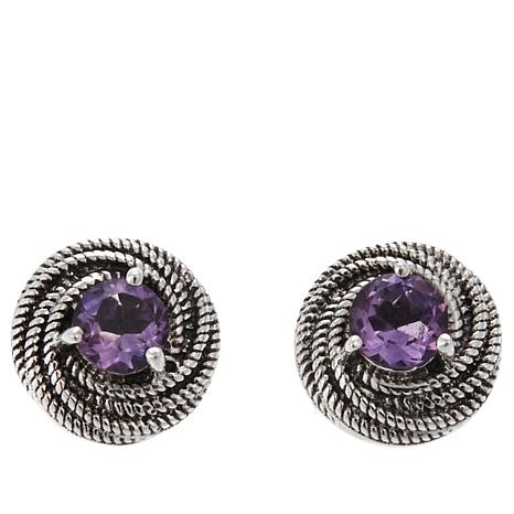 Nicky Butler .80ctw Amethyst Love Knot Earrings