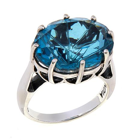 Nicky Butler Aqua Quartz Triplet Oval Solitaire Ring