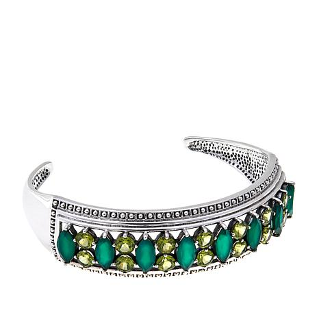 Nicky Butler Green Chalcedony and Peridot Cuff Bracelet