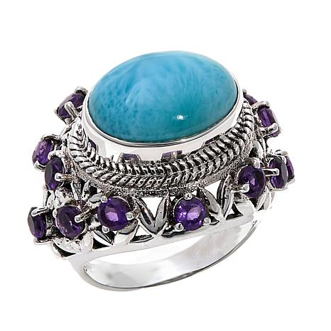 Nicky Butler Larimar and African Amethyst Ring