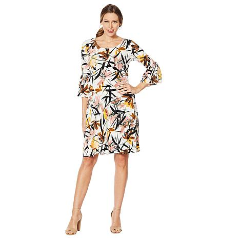 9966db3868e Nina Leonard Bell-Sleeve Printed Trapeze Dress - 8868609