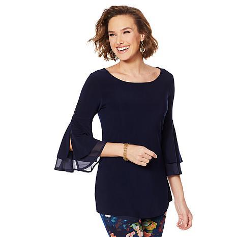 Nina Leonard Jersey Bell-Sleeve Top